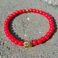 "RED AGATE STONE  GOLD BUDDHA BRACELET 8"" LONG YOGA/MEDITATION"
