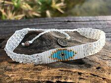 Icy white seed bead bracelet boho surfer hippie vegan handmade