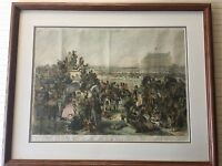 "A. Hunt ""Epsom Downs The Derby Day"" Etching Colored Print, Leighton Bros, Framed"
