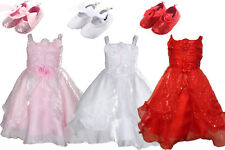 Baby Girls Christening Wedding Party Dress with Shoes 3 6 9 12 18 Months