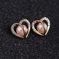 Women Gift Ear Jewelry Rose Gold Hollow Heart Rhinestone Pearl Earrings Gift