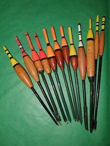 12 Vintage Handmade Cork & Balsa Bodied Small Avon Coarse Fishing Floats