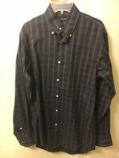 Lands' End Plaid Poplin Shirt Business Casual Hipster Size Small 14-14 1/2  NWOT