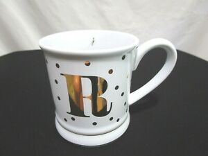 "NWOT Pier 1 Imports White & Gold Polka Dot ""R"" Monogram 14 oz Coffee Mug Cup"