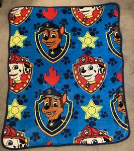 "Paw Patrol Plush Soft Throw Blanket Nickelodeon Blue 48"" X 40"" Chase Marshall"