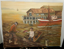 PORT CLYDE FISHING VILLAGE, MAINE SEAPORT OIL PAINTING~SIGNED BY DeGROAT