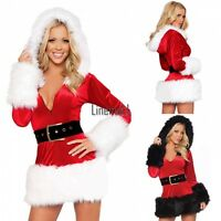 Women Deluxe Mrs Santa Claus Christmas Fancy Dress Costume Xmas Party Outfit LM