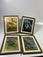 Vintage 1970's R.H. Palenske Set Of 4 Color Foil Etch Print Framed