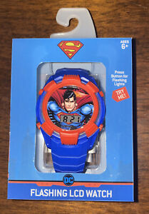 DC Comics Superman Wristwatch Kids Flashing  LCD Watch New Age 6+