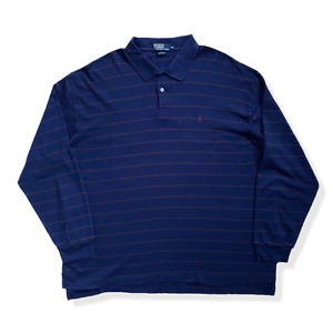 "Vintage Ralph Lauren Polo Shirt | Navy Striped Soft + Stretch BIG TALL 60"" Chest"