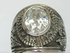 Clear Cz Birthstone Men Ring Size 7 12x10 mm United States Army Military April