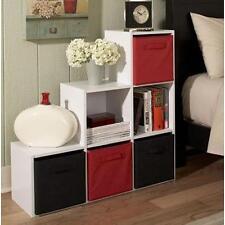 6 Cube Step Storage Unit Shelf White Bookcase Home Office Wooden Organizer