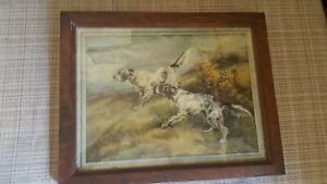1921 American Art Works Print By Edmund Osthaus Dogs In Original Frame