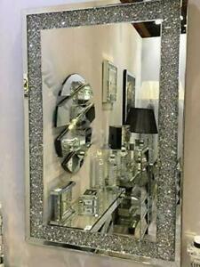 Extra large crushed diamante diamond gems crystal jewel mirror 104cmx74cm bling