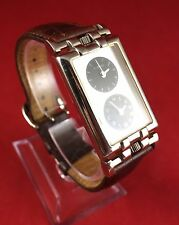 Rare Men's Fossil EC-8804  Brown Leather Watch