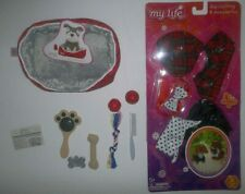 "dog clothing pet bed and accessories for 18"" doll plaid and polka dots."