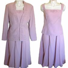 Studio Che Pink 3-Piece Skirt Set Jacket with Embroidery & Pleated Skirt Sz 16W