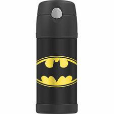 BATMAN Fun-Tainer THERMOS Black w Push Flip Straw 12oz Bottle COLD 12 Hours NEW*