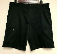 IZOD Perform X Men 34 Shorts Flat Front Pockets Hook and Latch Embroidered Black