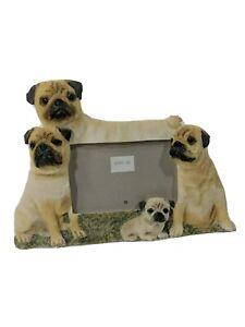 """E&S Imports Pug Dog Family Picture Photo Frame 3.25"""" x 5"""" Cute! EUC!"""