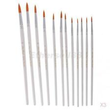 3x 12Pcs Artists Paint Brush Set Nylon Hair Watercolor Tip Pointed Head White