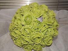 Wedding flowers lime green rose bouquet,diamante,bride,maid,flower girl,brooch