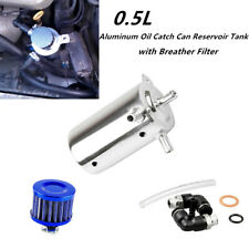 Universal Car 0.5L Oil Catch Can Reservoir Tank w/ Breather Filter Aluminum Set