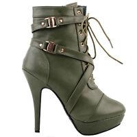 Strappy Buckles Zip High Heel Stiletto Platform Ankle Boots Size 4/5/6/7/8/9/10