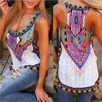 Women Summer Retro Bohe Sleeveless Vest Tops Print Casual Shirt Blouse Tank Tops