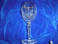 "GORHAM crystal LADY ANNE gold trim  Wine Goblet or Glass- 6-7/8"""