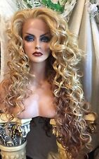 Captivating, Long Blonde-Red Ombré Curls, Soft Lace Front-HUMAN HAIR BLEND WIG!!