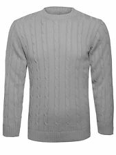 Men's Plain Chunky Cable Knitted Jumper Crew Neck Sweater Long Sleeve Top