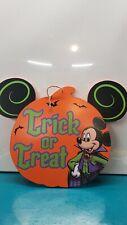 New listing Nib Mickey Mouse Trick Or Treat wood door sign pumpkin head vampire