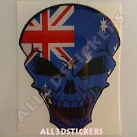 Pegatina Calavera Bandera Australia Adhesivo Relieve Coche Moto Skull Tablet 3D