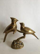 Vintage Brass Birds On Branch Statue Mid Century Blue Jay Cardinal Patina Figure