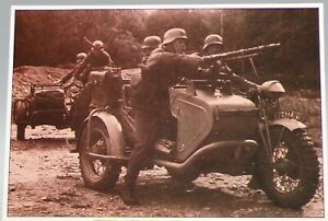 JERSEY - JERSEY IN WARTIME - MOTORCYCLE UNIT EQUIPPED WITH MG34 MACHINE GUN