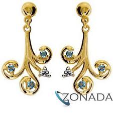 Blue Topaz Diamond 9ct Solid Yellow Gold Drop Earrings 54261/bt