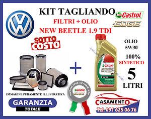 KIT TAGLIANDO 4 FILTRI VW NEW BEETLE 1.9 TDi + 5 LITRI OLIO CASTROL 5W30