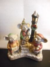 BISQUE CHRISTMAS THREE BLIND MICE MUSIC BOX - WE WISH YOU A MERRY CHRISTMAS