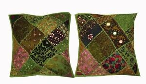 """33% OFF 16""""-2 GREEN COLORFUL BANJARA TRIBAL THROW ACCENT CUSHION PILLOW COVERS"""