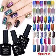 6Pcs Color Kit Nail Gel Polish UV LED Soak Off Top Coat Gel Varnish Salon 7.5ml