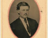 Old Vintage Antique Tintype Photo Dashing Young Man Gentleman w/ Thin Mustache