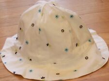 NEW Vintage GYMBOREE White NAUTICAL Sun HAT Embroidered Flower S M 3T 3 4T 4 NWT