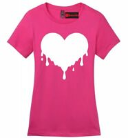 Dripping Melting Heart Ladies Soft T Shirt Love Hipster Music Graphic Tee Z4
