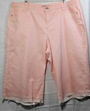 LANE BRYANT plus womens Stretch peach let-down hem jean capris size 26 NWOT