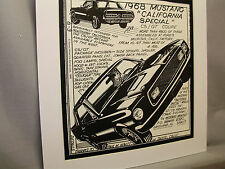 1968 Mustang California Special  Pen Ink Hand Drawn  Poster Automotive Museum