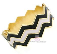 Beauty for Ashes Black White Hinged Cuff Goldtone Chevron Zig Zag Bold Bracelet