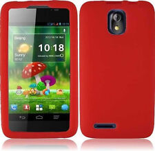 For Cricket ZTE Engage LT N8000 SILICONE Soft Rubber Gel Skin Phone Case Red