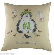 """17"""" ANN EDWARDS BIRDWATCHING CAT Cushion Evans Lichfield BIRD WATCHING CR353"""