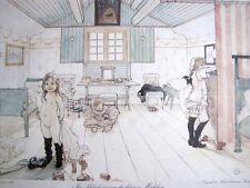 Tableau Dans la Chambre des Petites Filles Carl Larsen Sous Verre et Cadre Doré